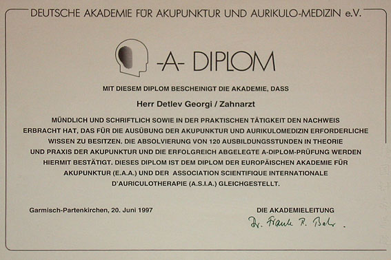 Zertifikat - Zahnarztpraxis Dr. Detlev Georgi in 96126 Maroldsweisach